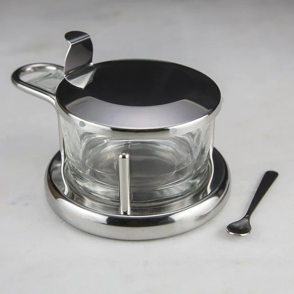 Stainless Steel and Glass Salt Cellar  Red Stick Spice Company