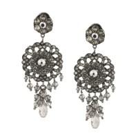 Chiara Glimmering Silver Swarovski Drop Earrings by ...