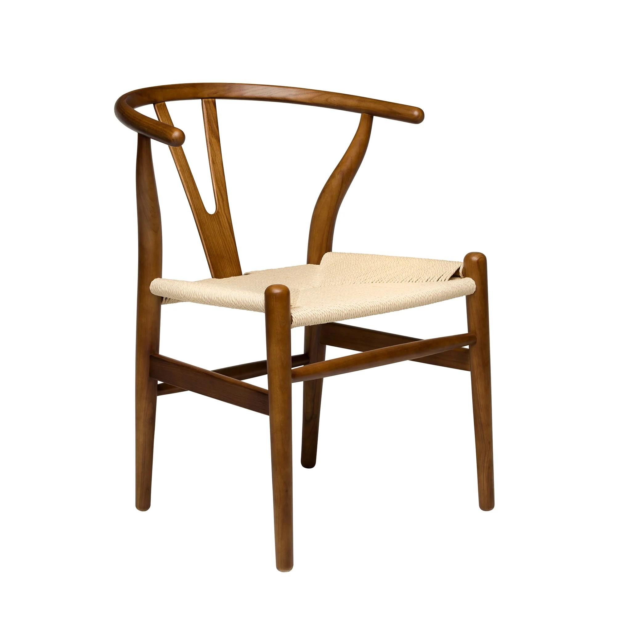 wishbone chairs morris chair cushions walnut natural woven cord