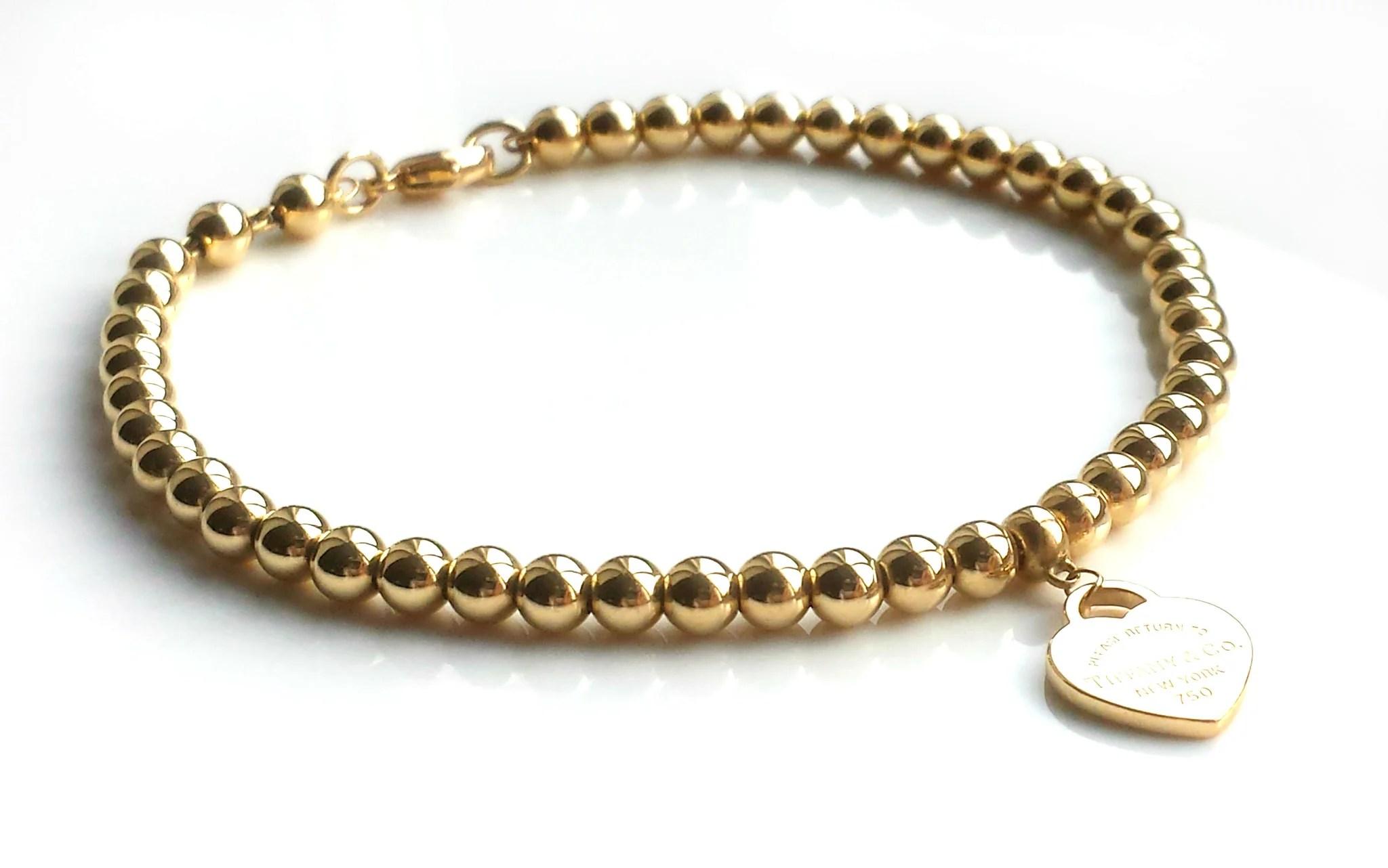 Tiffany & Co. Return to 18k Yellow Gold Bead Bracelet & Mini Heart Tag - Bloomsbury Manor Ltd