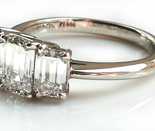 Tiffany Co  Ct E Vvs  Stone Emerald Cut Diamond Platinum Engagement Ring
