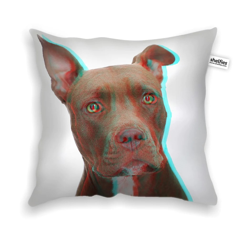 3D Pitbull Throw Pillow Case  Shelfies