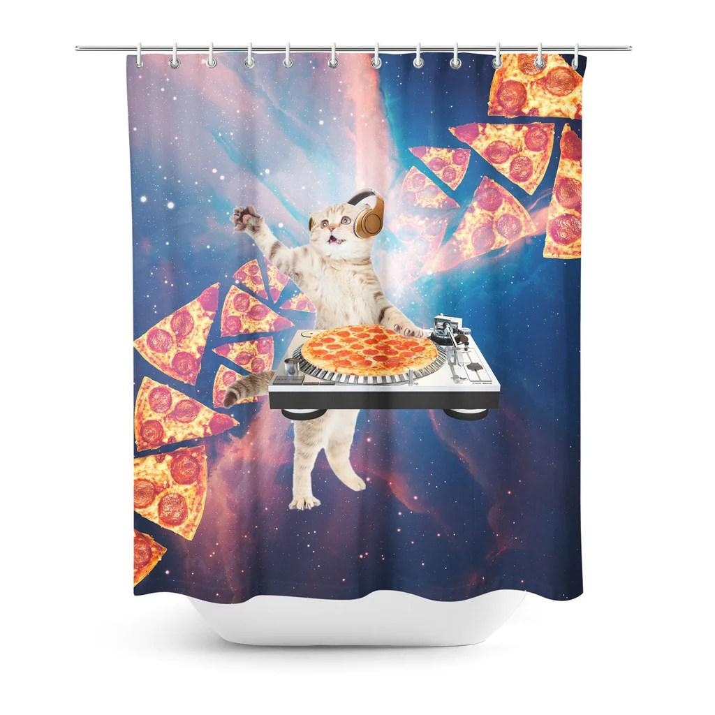 dj pizza cat shower curtain