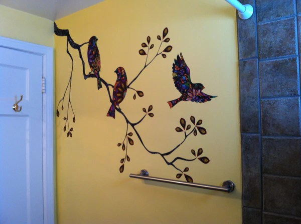 Birds And Branch Wall Stickers Perfect For Small Bathroom Mural