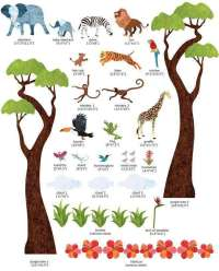 Safari Wall Decals | Jungle Safari Wall Sticker Kit