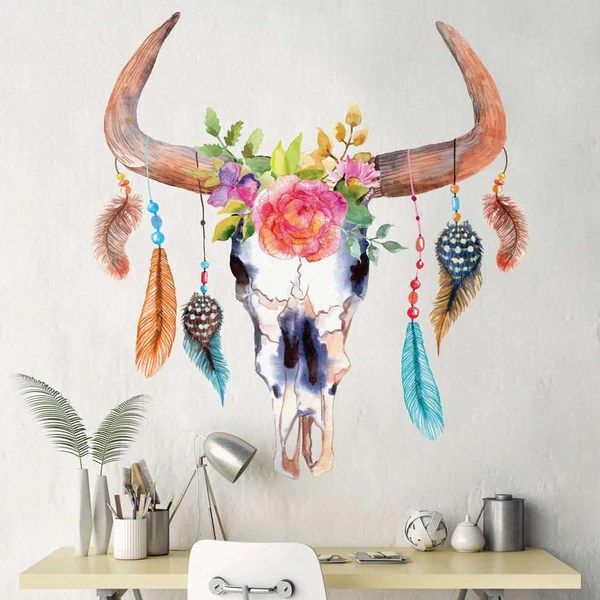 Bull Skull Dream Catcher Decal  Dream Catcher Wall Decal