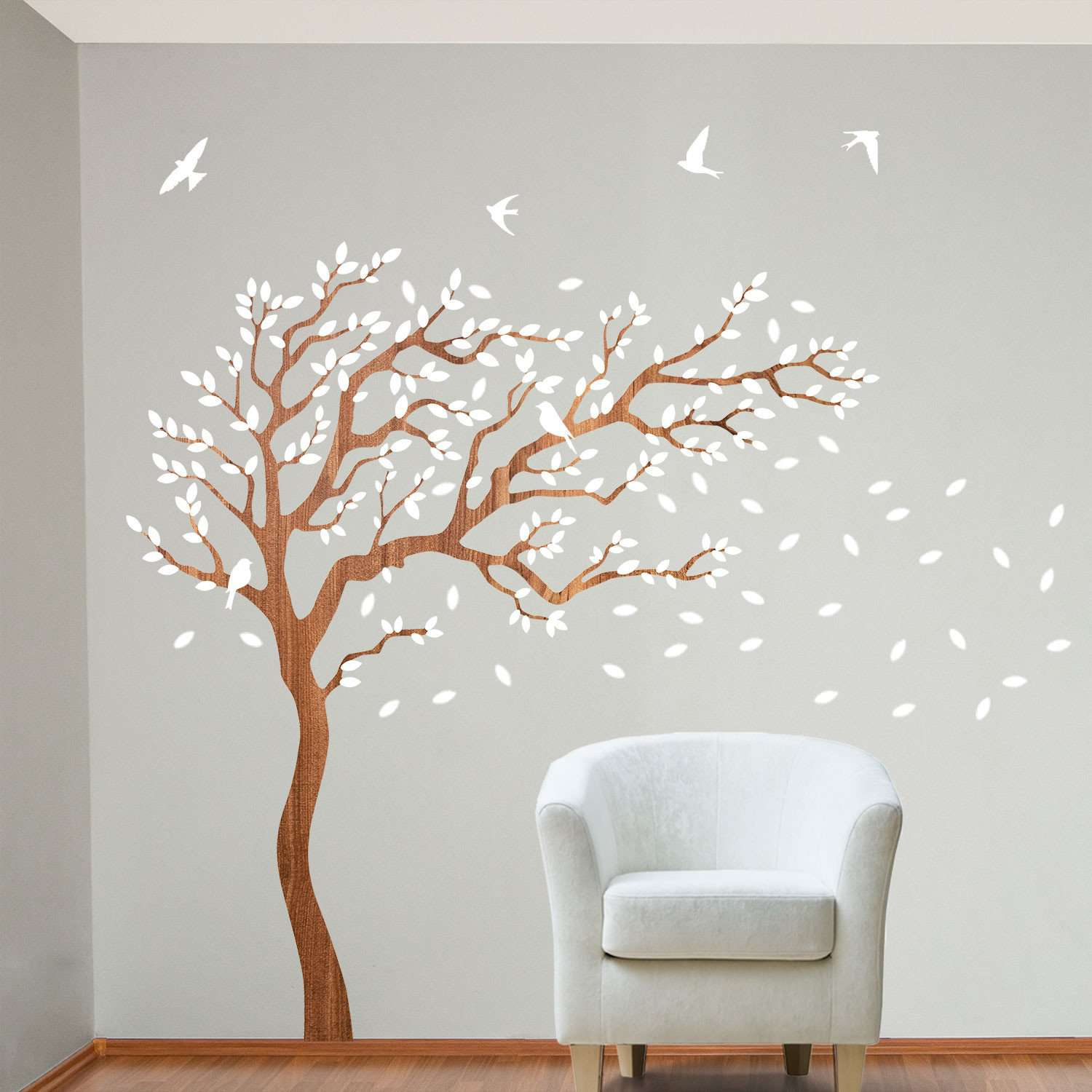 Breezy Tree Wall Decal and Bird Stickers in White and Wood
