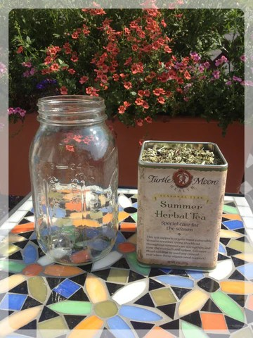 summer herbal tea blend, jar, loose-leaf tea
