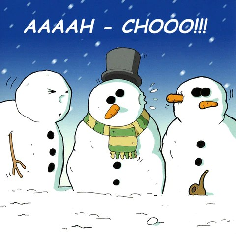 Humorous Christmas Card Twizler Snowman Aaaah