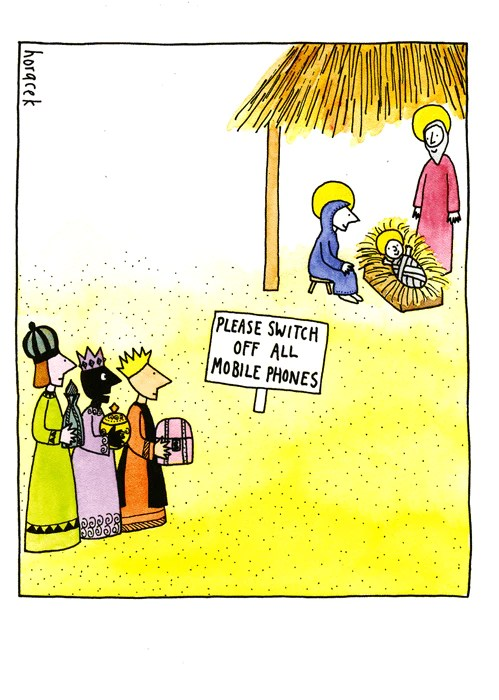 Funny Christmas Card Baby Jesus Switch Off Mobile