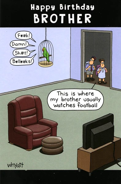 Funny Birthday Card Where Brother Watches Football