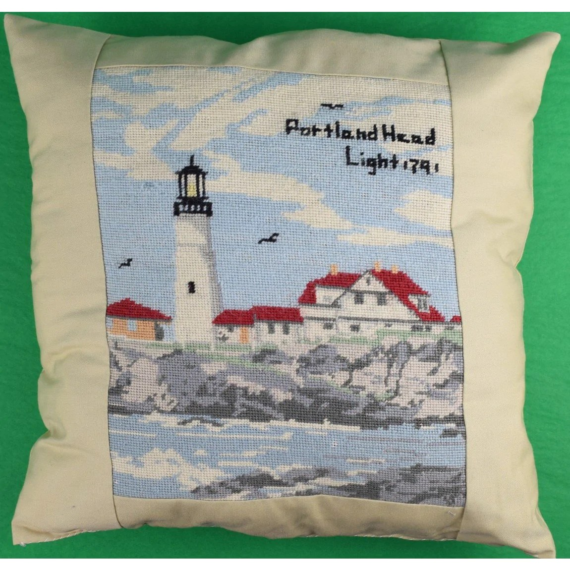pair of hand petite needlepoint lighthouse c 1970 s pillows