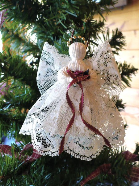 2 Victorian Handmade Lace Angels  johnnyappleseedhomeandyard