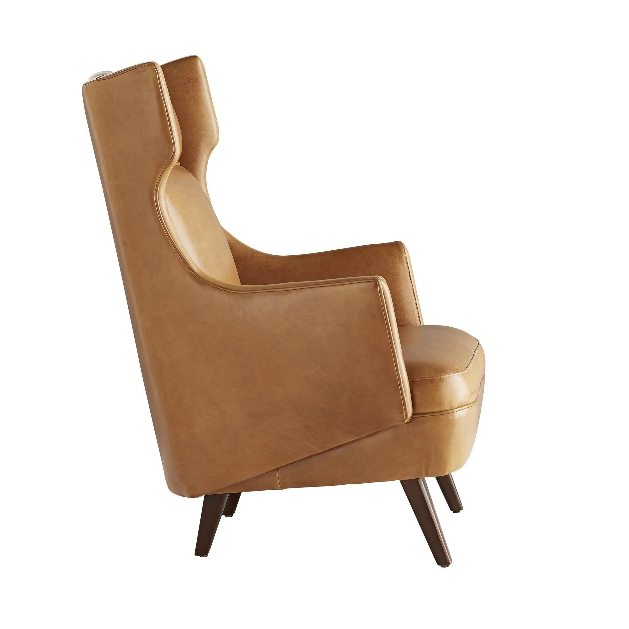 Modern Wing Chair Modern Wing Chair In Cognac Leather
