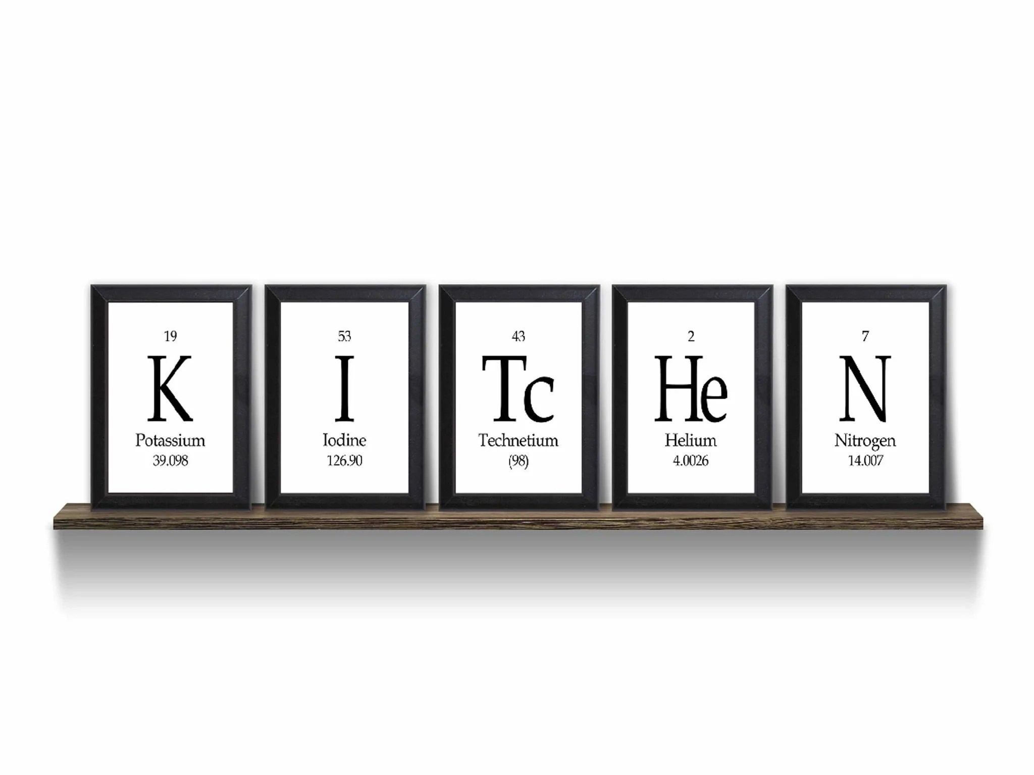 Kitchen Periodic Table Framed 5 Piece Wall Plaque Set Each Plaque
