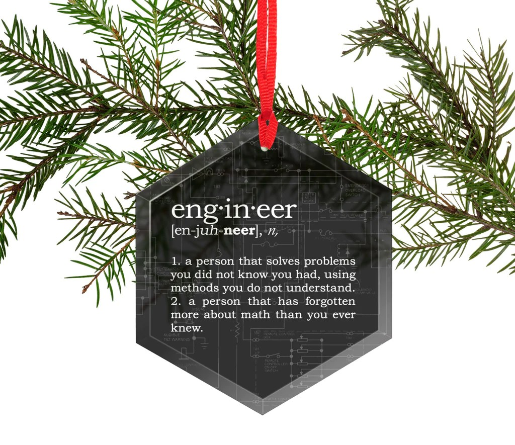 Funny Definition Of Engineer Glass Christmas Ornament