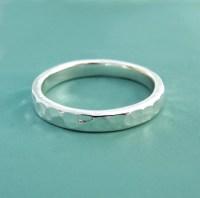 Sterling Silver Hand Hammered Wedding Ring in Recycled ...