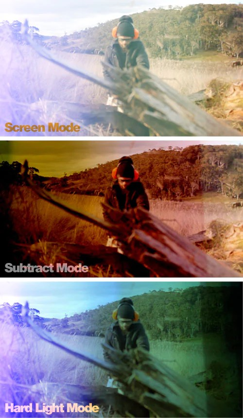 different blend modes being used with light leaks
