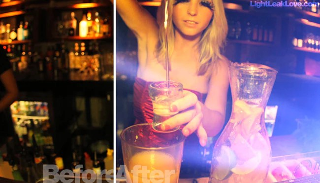 lady pouring drink with light leak video effects