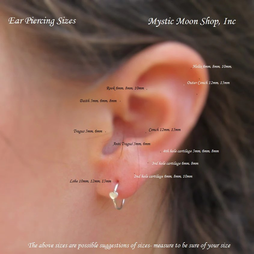 Sizing chart for tiny hoop earrings mystic moon shop inc also  nose rh mysticmoonshop