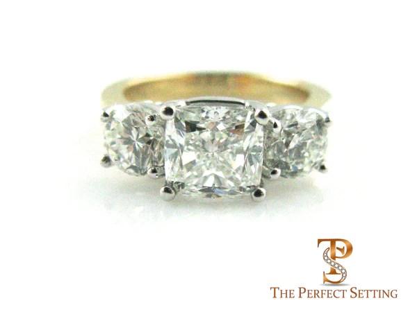 Cushion Cut Three Stone Diamond Anniversary Ring The