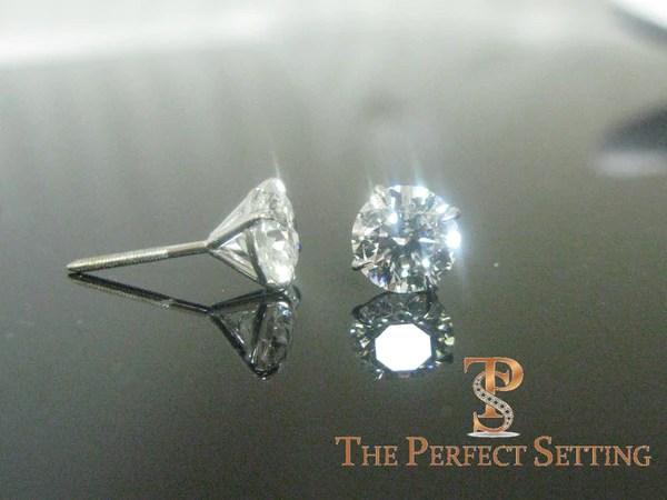 Hearts and Arrows Diamond Stud Earrings  Custom Martini Setting Scr  The Perfect Setting