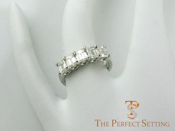 5 Stone Emerald Cut Diamond Wedding Band The Perfect Setting