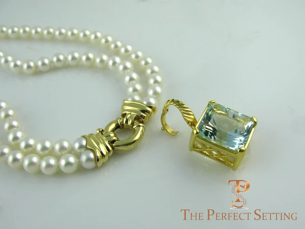 Double Strand Cultured Pearl Necklace Custom 18K Gold