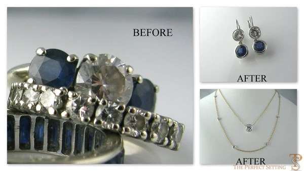 Resetting  Unworn Diamond and Sapphire Ring to Necklace and Earrings  The Perfect Setting