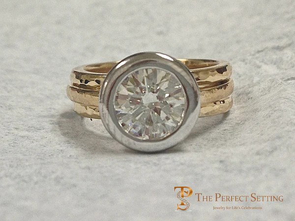 Signature Ring Pear Diamond Custom Made Platinum And 18k Yellow Gold The Perfect Setting