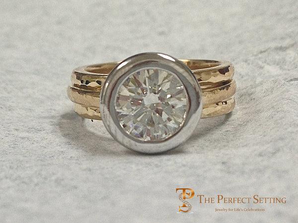TPS Signature Ring Hand Hammered Platinum And 18K Yellow