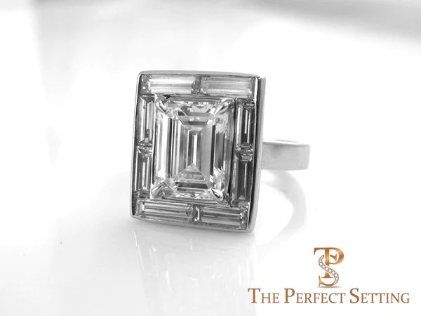 Emerald Cut Diamond Engagement Ring Baguette Halo Setting  The Perfect Setting