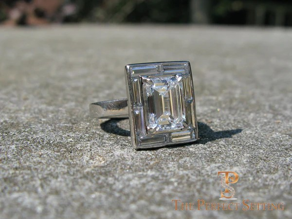 Emerald Cut Diamond Engagement Ring Baguette Halo Setting