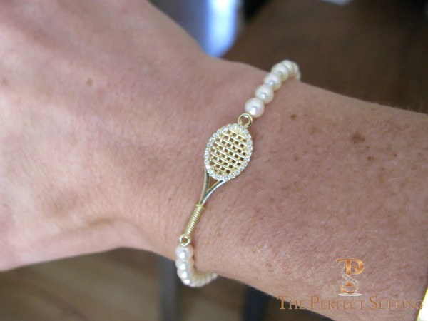 Tennis Racquet Bracelet Gold Diamond Turquoise The Perfect Setting