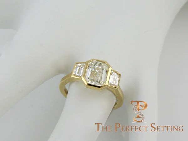 3 Stone Emerald Cut Diamond Custom Ring Bezel Setting