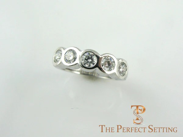 Custom Tri Gold 5 Stone Bezel Set Diamond Ring The