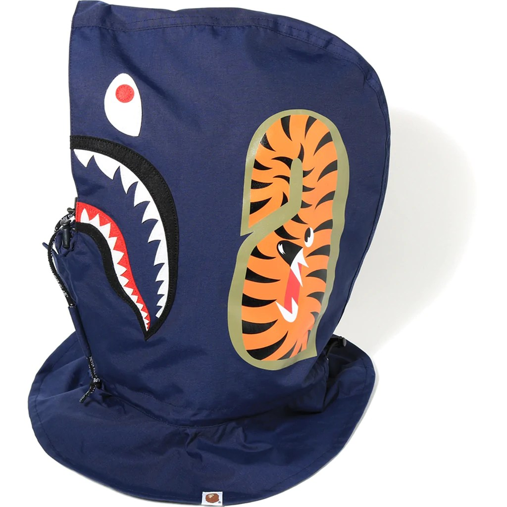 1st Camo Shark Face Mask Hoodie Mens