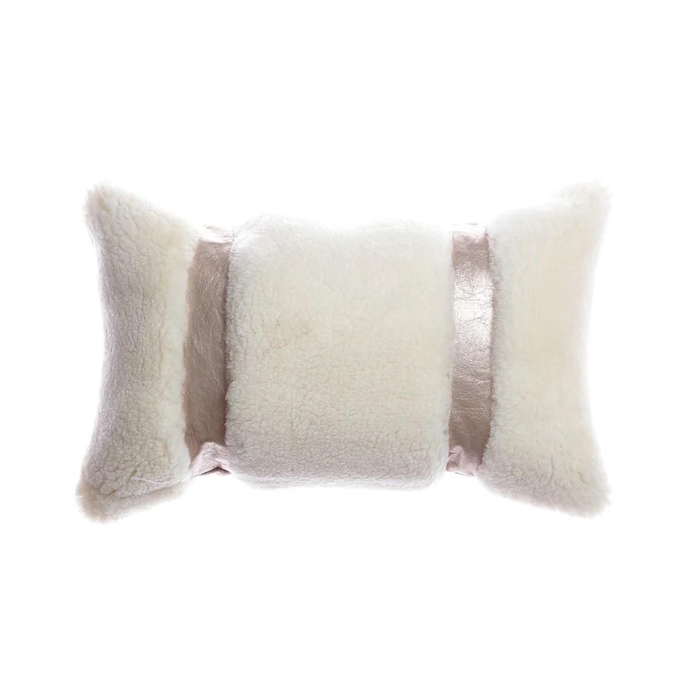 shearling metallic leather lumbar pillow
