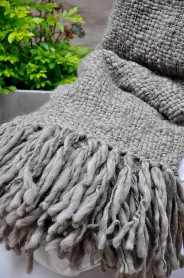 Chunky Knit Blanket  Flame Grey Wool Throw  Homelosophy