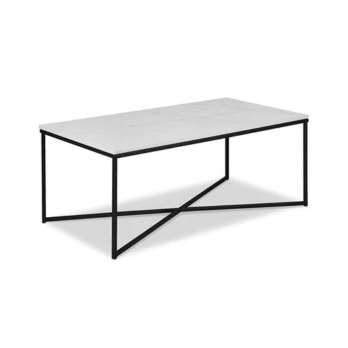 black living room tables orange furniture modern rectangular coffee table with white marble top and metal base