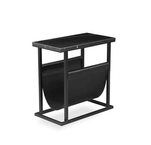 black living room tables interior design open kitchen marble modern end table with metal base and magazine sling
