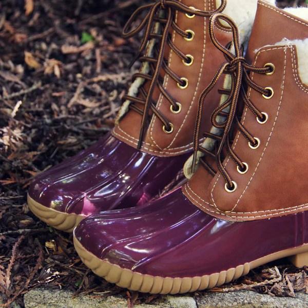 Alpine Pine Duck Boot in Wine Fall  Winter Duck Boots