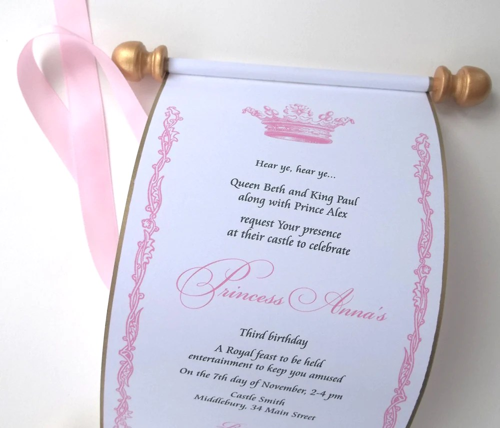 royal princess birthday invitation scroll royal birthday party gold and pink set of 10