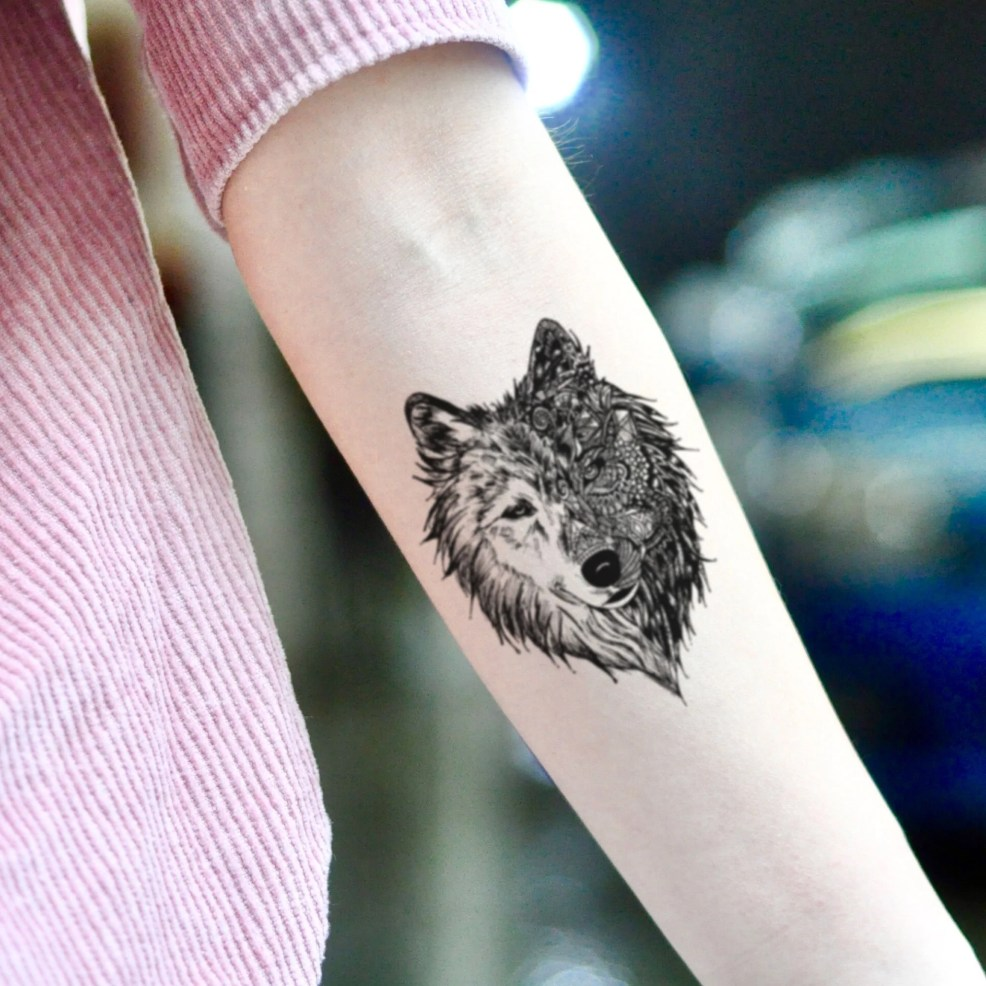 3d Alpha Wolf Double Face Temporary Tattoo Sticker Set Of 2