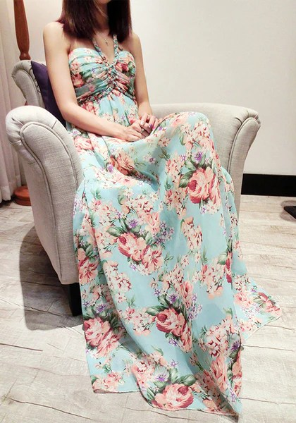 Braid Floral Maxi Dress