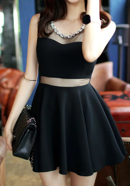 Black Mesh Beads Neckline Dress from Lookbook Store