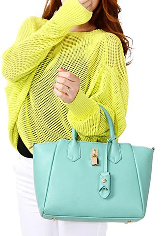Mint Faux Leather Bag from Lookbook Store