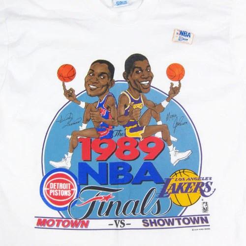 Vintage Pistons Vs Lakers 1989 NBA Finals Caricature T