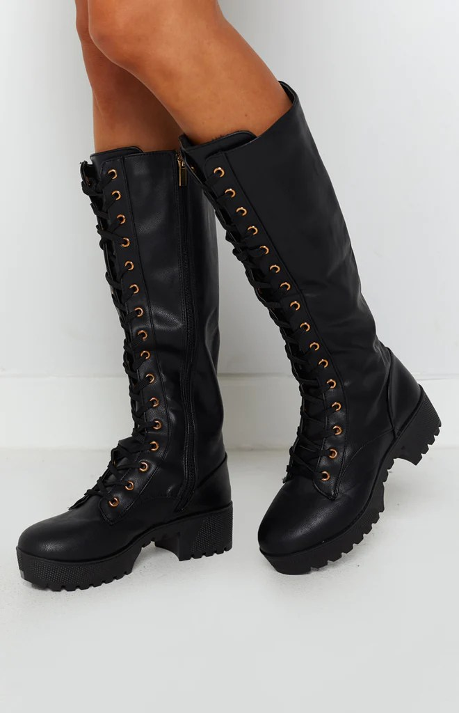 Careen Lace Up Boots Black 2