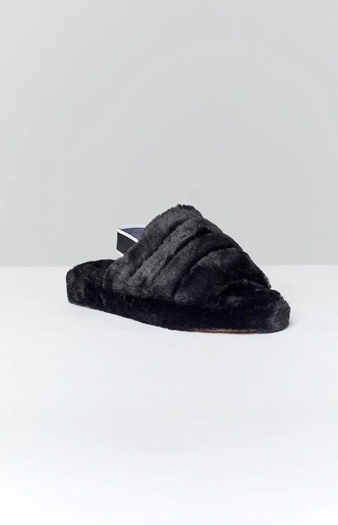 Snuggles Fluffy Sandals Black 3
